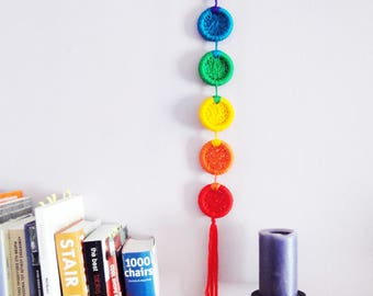 Seven Chakra Mobile Yoga Chakra Art Unique Chakra Decor Rainbow Wall Hanging Gift For Yoga Lover Positive Energy Art Reiki Healing Decor