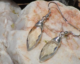 Faceted Cut Crystal Earrings~Wire Wrapped~Silver and Sparkle~For pierced Ears~Set #3
