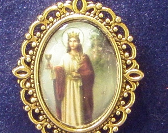 Saint Barbara Religious Medal- Patron saint of artillery, against lightening, fires and explosions