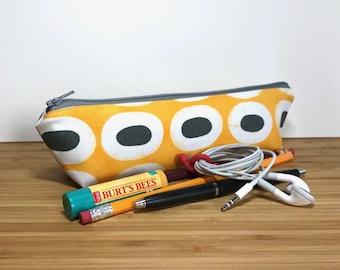 Yellow Zipper Pouch, Modern Zipper Pouch, Yellow Pencil Case, Boho Zipper Pouch, Makeup Bag, Boho Cosmetic Bag