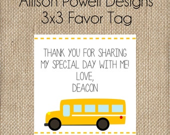 School Bus, Wheels On The Bus Birthday Party Favor Tags