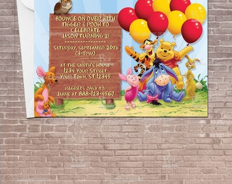 Personalized winnie the pooh favor tags instant download winnie the pooh party invitation w balloons download editable birthday invitation kids bookmarktalkfo Choice Image