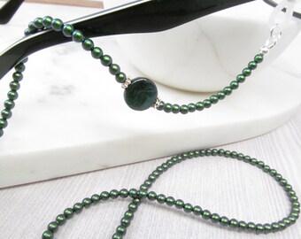 Iridescent Emerald Pearl Reading Glasses Chain, Pearl Eyeglass Chain, Holder Necklace, Pearl Eyeglasses Leash, Glasses Lanyard, Swarovski