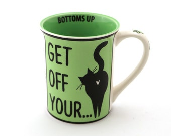 Funny mug , cat mug , cat butts , gift for cat lover , crazy cat lady , gifts under 20 , black cat , large 16 oz mug