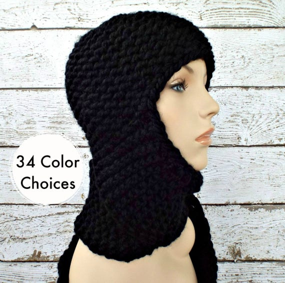 Black Knit Hat Black Womens Hat - Black Ear Flap Hat Garter Nomad Scarf Hat - Black Hat Black Scarf Winter Hat - 34 Color Choices