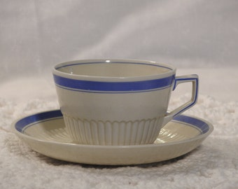 Ridgways Old Ivory Bedford Ware Tea Cup And Saucer Set/ Vintage Ivory and Blue Tea Cup and Saucer Set/ English Tea Cup And Saucer Set