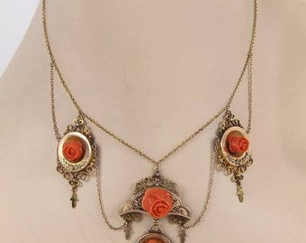 Antique Victorian 14kt Rose Gold Coral Roses Drop Charm Necklace