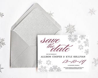 Snowflake Save the Date - Winter Save the Date - Winter Wedding Save the Date  - Silver and Maroon Wedding Save the Date Card