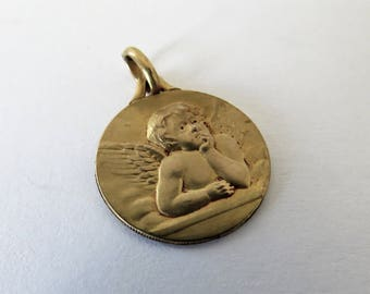 Antique French, Guardian Angel Medal, 1931,SHIPPING INCLUDED