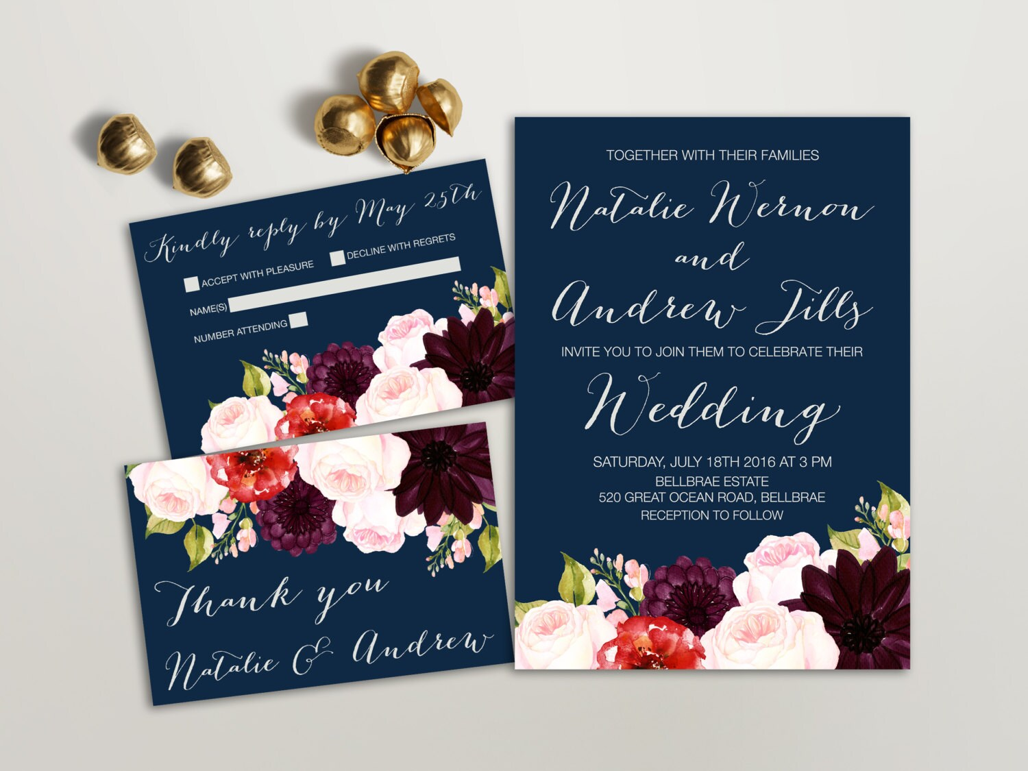 One Page Wedding Invitations: Floral Wedding Invitation Suite Printable Wedding Invitation