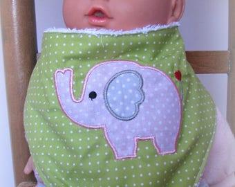 pink elephant applique green bandana bib