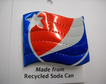 Magnetic Pepsi Flag Recycled Can