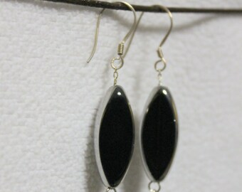 Black Metalic Enameled Silver Oval Earrings