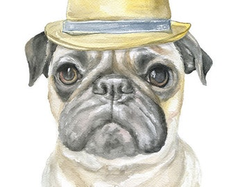 Pug with Fedora Watercolor Painting 8 x 10 - 8.5x11 Fine Art Giclee Reproduction - Art Print Dog Portrait