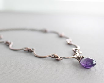 Scallop shape copper necklace with hand forged arch links on chain with purple amethyst - Stone necklace - Amethyst necklace - NK040