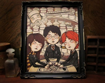 The Summoning of Dumbledore - Harry Potter - Hogwarts - Victorian - Ouija - Ron Weasley - Hermione Granger - occult