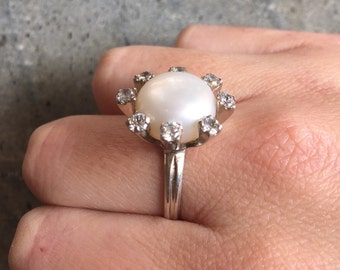 Vintage Pearl Ring, Pearl Ring, Genuine Pearl Ring, White Pearl Ring, Mothers Birthstone, June Birthstone, Pearl Jewelry, Birthstone Jewelry