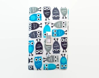 Owl Light Switch Cover - Woodland Switch Plate - Boys Owl Nursery Decor - Aqua Blue Grey Nursery Decor - Woodland Owl - Boys Switchplate