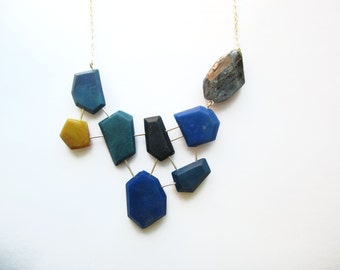 Navy blue statement necklace: modern necklace with genuine kyanite gemstone. Asymmetric modern color block necklace on sterling silver.