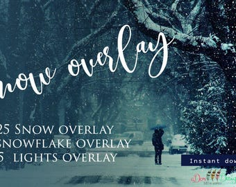 35 Snow Overlays | Instant Download | Includes 15 Bokeh Overlays | Photoshop Editing| Winter Effect
