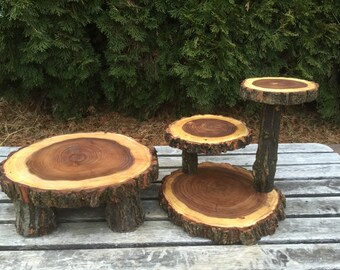 Elm Wood Rustic Cake 50 Cupcake Stand Wedding party shower wooden, lumberjack party, boho party, live edge round, wild things are,