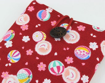 iPad mini Cover, Kindle fire case,Kobo Glo Sleeve, Japanese Cotton Fabric Flowers Pigeon Red