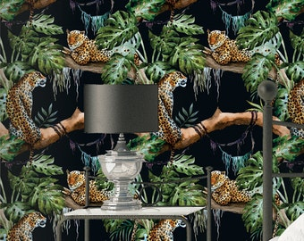 Leopard in Tree Wallpaper - Removable Wallpapers - Jungle Monstera Wallpaper - Self Adhesive Wall Decal - Temporary Peel and Stick Wall Art