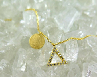 Delicate Pave Triangle and Disc Necklace,  Gold CZ Triangle, Matte Gold Necklace, Dainty Necklace, Gold Layering Necklace