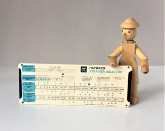 Hayward Strainer Selector, Vintage Slide Chart, Industrial Pipeline Strainer Selector, Promotional Advertising Collectible