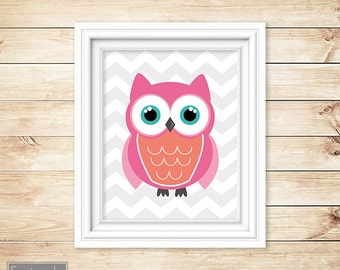Owl Nursery Pink Coral Wall Art Grey Chevron Decor  Playroom Girl's Room Printable 11x14 Digital JPG Instant Download (23-2)