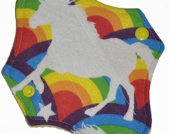Liner Core- Rainbow Unicorn Flannel Reusable Cloth Petite Pad- 6.5 Inches