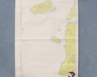 Vintage Nautical Sea Map, Maritime Chart, Gallipoli Pull Down Map 1979 Made in Turkey 1970's Sea Sailing Map Geography