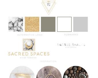 Branding Package - Branding Kit - Sacred Geometry - Blog Branding Kit - Glitter Gold Logo - Marble - Boho - Gift for her - pre made logo