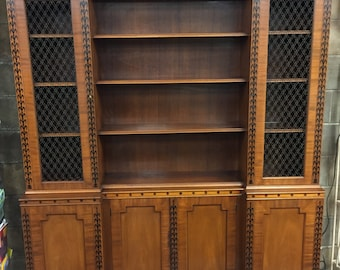 Gorgeous Vintage Mahogany Breakfront Cabinet with Black Painted and Gilt Details circa 20th Century