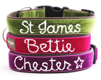 Personalized Velvet Dog Collar (14 colors to choose from) - Custom Dog Collar - Hand Embroidered Collar with your dog's name