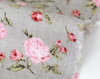 "Roses Cotton Linen - 57"" Wide - By the Yard 80173"
