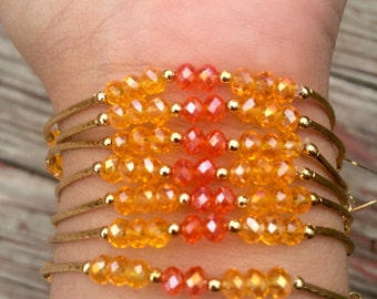 Orange and Yellow Orange Crystal Beaded Bracelet Set with Gold Plated Charms - Semanario Naranja y Naranja Amarillo con dijes Chapa de Oro
