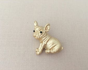 French Bulldog Brooch.French Bulldog Pin.Gold French Bulldog.French Bulldog Broach.Dog Lovers brooch.Puppy.matte gold.brushed gold.collector