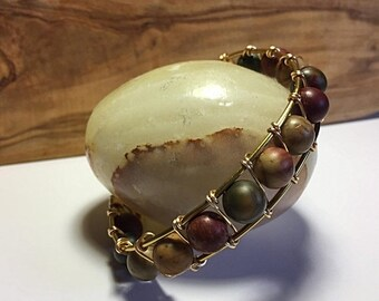 Half Price One week sale Brass wire and agate beads bracelet