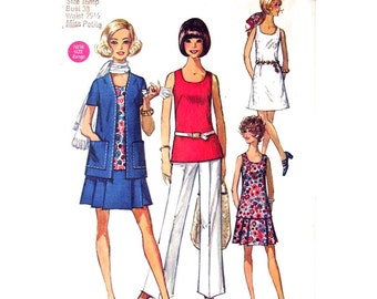 70s Jacket Dress Blouse Skirt Pants Pattern Simplicity 8800 Mix & Match Wardrobe Womens Bust 38 Sewing Pattern