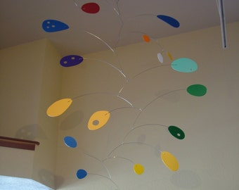 Modern Art Mobile Hanging Sculpture Calder Inspired Very Large 49in x 89in ColorFall Home Decor Colorful