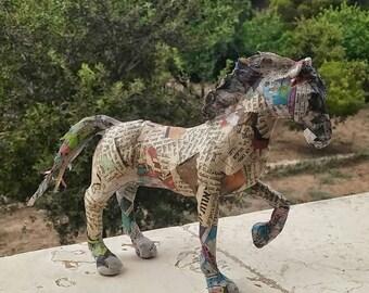 Horse lover gift, paper mach horse, horse sculpture, newspaper horse, horse figurine