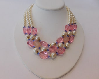 Unique Faux Pearl Vintage Necklace - Beautiful Design and Beads - Multi Strand Vintage Neckace