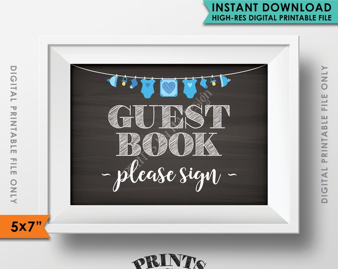 """Guestbook Sign, Please Sign the Guest Book Sign In, Blue Baby Shower Decorations, Instant Download 5x7"""" Chalkboard Style Printable Sign"""