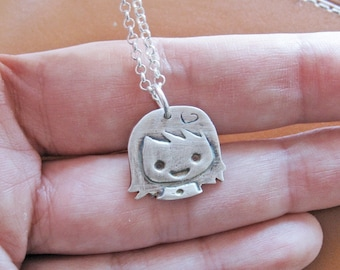 Cute little girl necklace - new baby girl shower gift - kids jewelry - girl necklace - gift for new mommy