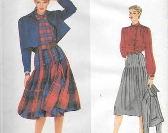"Vintage 1980s Vogue Paris Original Pattern 2322 - Christian Dior Misses' Jacket, Blouse and Skirt size 10 bust 32 1/2"" uncut"
