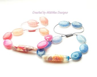 NEW Stunning Semi Precious Boho/Hippie Agate Friendship Bracelet in 2 Vibrant Summer Colours,Beach,Summer,Friendship,Pink,Blue,Agate,Stack