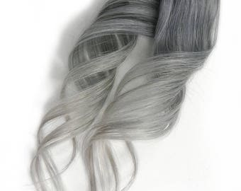 Clip in Metallic Silver Pastel Ombre Human Hair Extensions Dark Silver to Light Silver Balayage