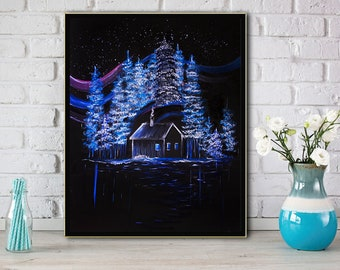 Colorful Night print Painting print Wall art decor Canvas In the night Art poster Home decor Gift Print oil art Fine art Paper print art