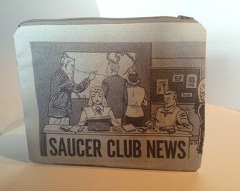 Travel Toiletry Bag Zippered Bag Artisan Bag Saucer Club News Handmade Bag Mens Black Toiletry Storage Bag Womens Cosmetic Organize Storage